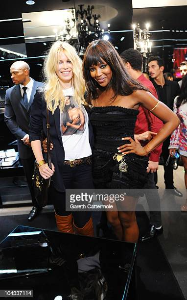 Claudia Schiffer and Naomi Campbell attend as Naomi Campbell celebrates 25 year career with Dolce and Gabbana on September 21 2010 in London England