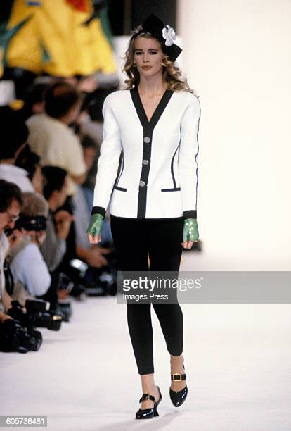 Claudia Schiffer at the Chanel runway show circa 1990s in Paris France