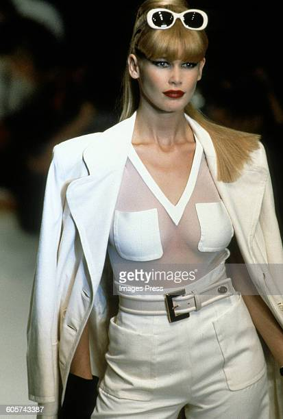 Claudia Schiffer at the Christian Dior Spring 1996 show circa 1995 in Paris France