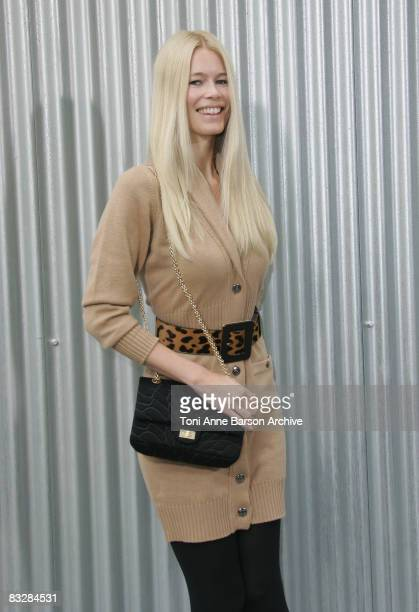 Claudia Schiffer attends the Chanel fashion show during Paris Fashion at Grand Palais on October 3 2008 in Paris France
