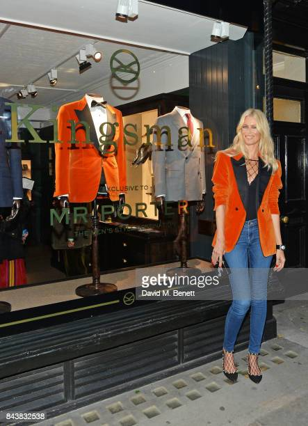Claudia Schiffer attends the launch of the 'Kingsman' shop on St James's Street in partnership with MR PORTER MARV Twentieth Century Fox in...
