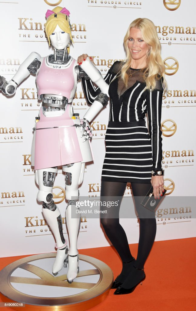 Claudia Schiffer (R) attends the World Premiere of 'Kingsman: The Golden Circle' at Odeon Leicester Square on September 18, 2017 in London, England.