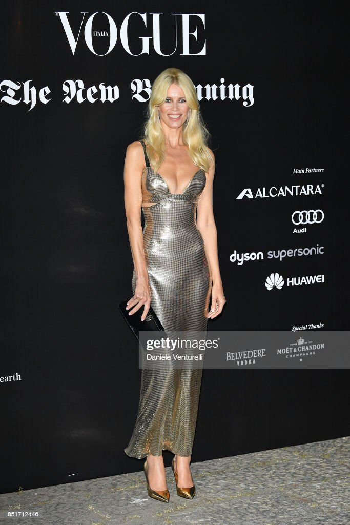 Claudia Schiffer attends theVogue Italia 'The New Beginning' Party during Milan Fashion Week Spring/Summer 2018 on September 22, 2017 in Milan, Italy.