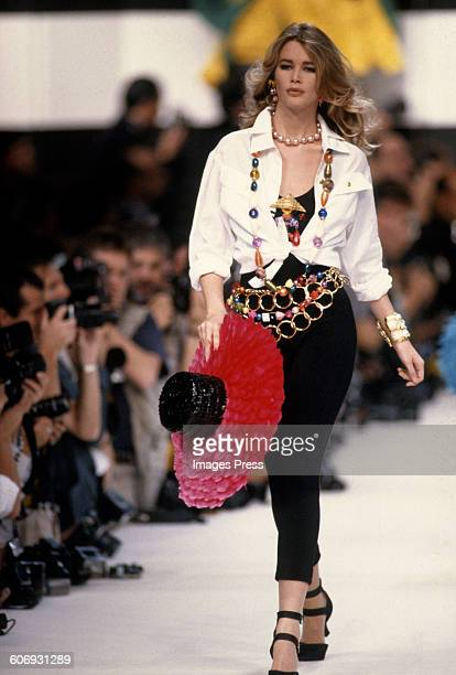Claudia Schiffer on the runway circa 1990 in Paris France