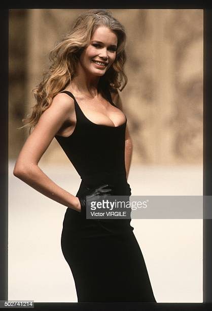 Claudia Schiffer walks the runway during the Chanel Haute Couture show as part of Paris Fashion Week Spring/Summer 19931994 in January 1993 in Paris...