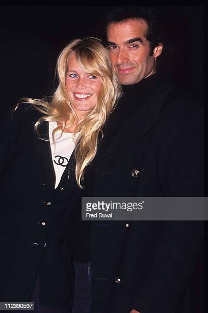 Claudia Schiffer with David Copperfield during Claudia Schiffer at Harrods 1995 at Harrods in London Great Britain