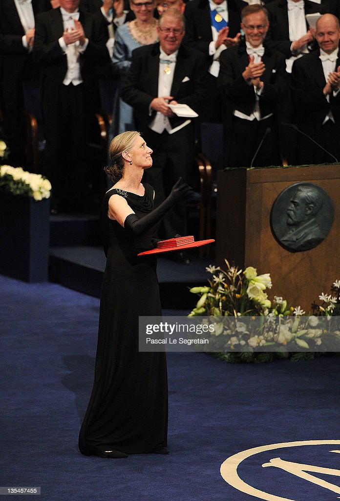 Claudia Steinman accepts the Nobel Prize for Medicine for her late husband Ralph Steinman at the Nobel Prize Award Ceremony 2011 at Stockholm Concert Hall on December 10, 2011 in Stockholm, Sweden.