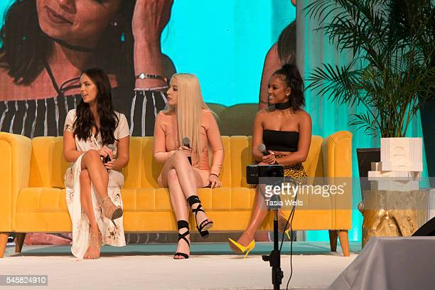 Claudia Sulewski Tana Mongeau and actress Karrueche Tran onstage at the 4th Annual Beautycon Festival Los Angeles at the Los Angeles Convention...