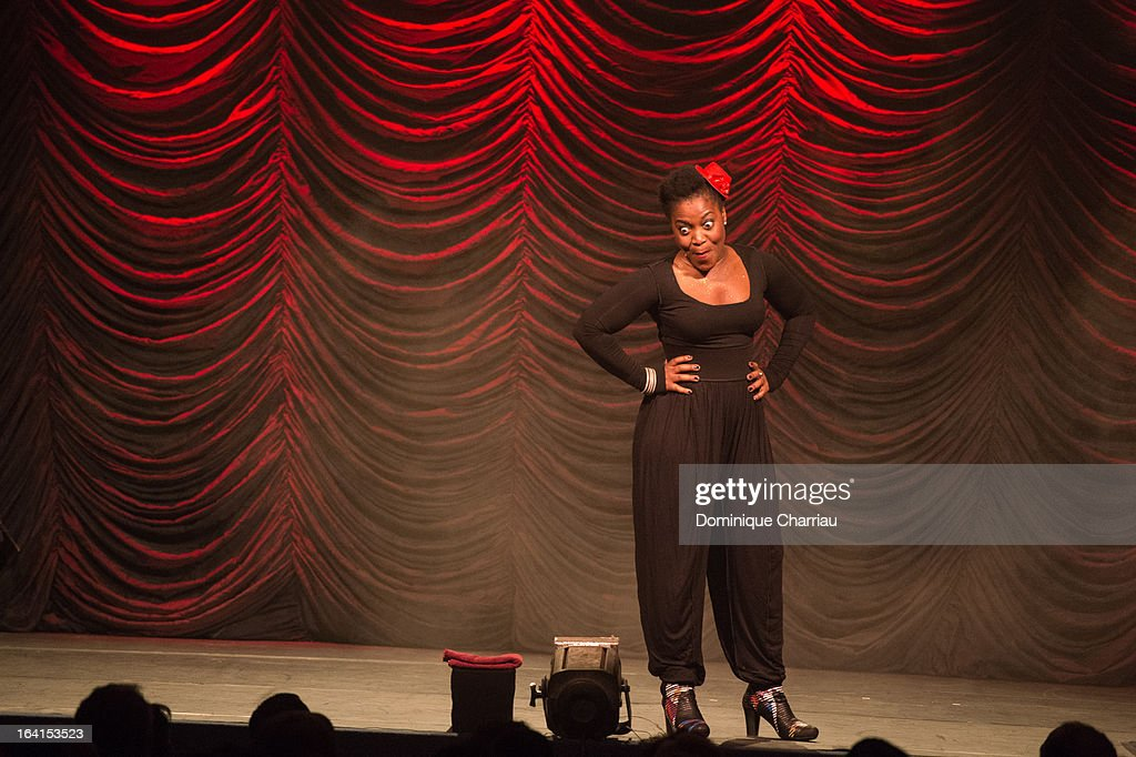 Claudia Tagbo performs on stage during The 29th International Festival Mont-Blanc D'Humour on March 20, 2013 in Saint-Gervais-les-Bains, France.