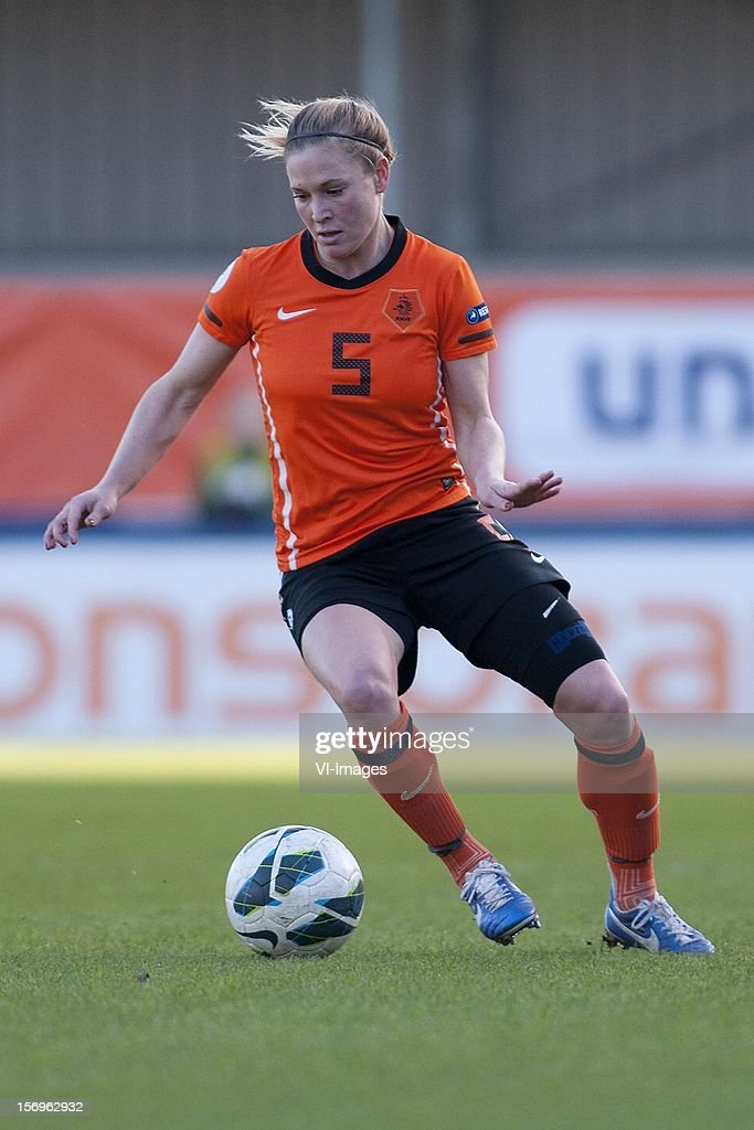 Claudia van den Heiligenberg of Holland during the Women's international friendly match between Netherlands and Wales, at Tata steel stadium on November 25, 2012 in Velzen-Zuid, Netherlands.