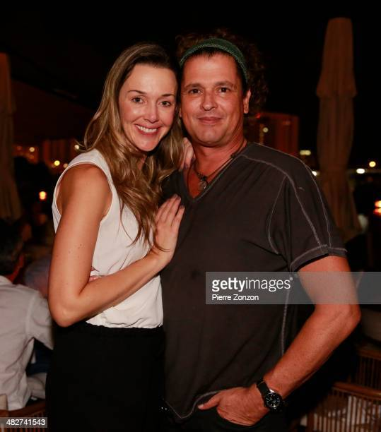Claudia Vives and Carlos Vives at Seasalt and Pepper Restaurant on April 3 2014 in Miami Florida