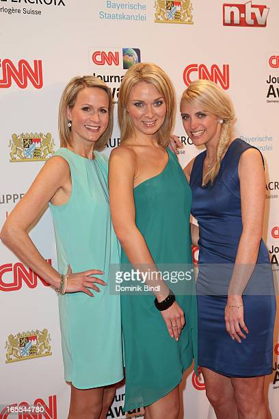 Claudia von Brauchitsch Britta Hofmann and Anna Kraft attend the CNN Journalist Award 2013 at the Künstlerhaus at Lenbachplatz on April 4 2013 in...