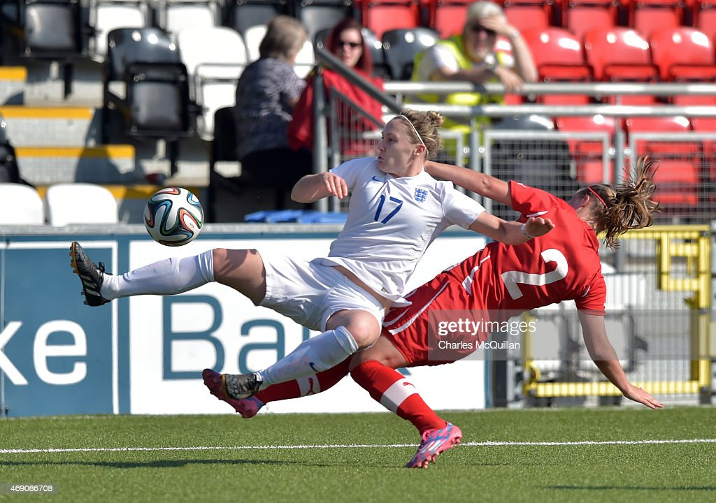 Claudia Walker (L) of England and Chloe Sylvestre (R) of Switzerland during the UEFA U19 Women's Qualifier between England and Switzerland at Seaview on April 9, 2015 in Belfast, Northern Ireland.