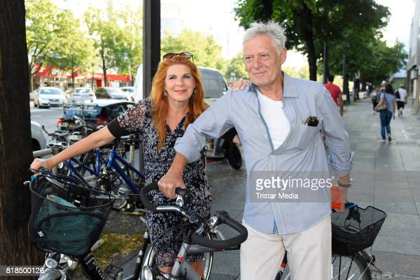 Claudia Wenzel and her husband Ruediger Joswig attend the exhibition opening 'Judith Milberg Aus der Mitte' at HypoVereinsbank Charlottenburg on July...