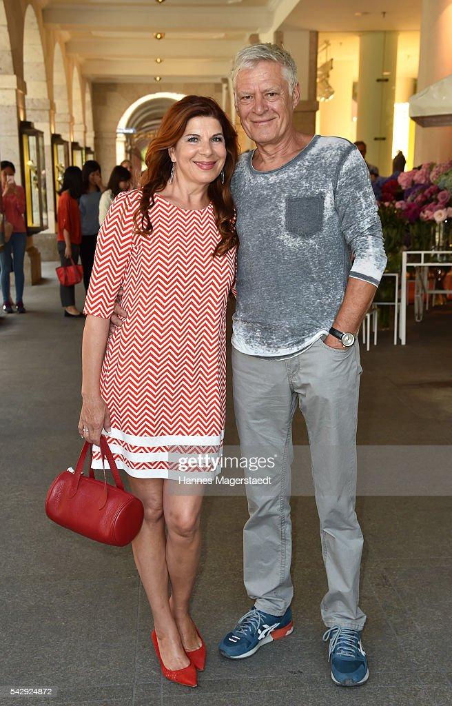 Claudia Wenzel and her partner Ruediger Joswig during the 'Sommerfest der Agenturen' at Hugo's on June 25, 2016 in Munich, Germany.
