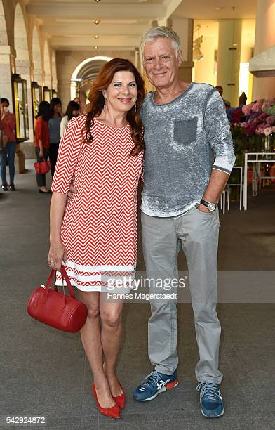 Claudia Wenzel and her partner Ruediger Joswig during the 'Sommerfest der Agenturen' at Hugo's on June 25 2016 in Munich Germany
