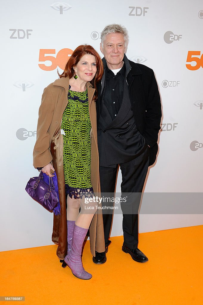 Claudia Wenzel and Ruediger Joswig pose on March 27, 2013 after a taping of one of the segments of the television program '50 Jahre ZDF' (50 Years of ZDF) in Berlin, Germany. The television network ZDF, known for its TV programs 'heute' and 'Wetten Dass..?' was founded in 1961 and is celebrating its 50th birthday with the broadcast of an anniversary show.