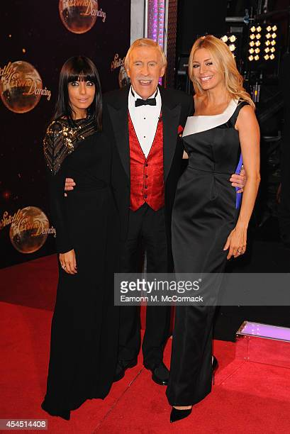 Claudia Winkleman Bruce Forsyth and Tess Daly attend the red carpet launch for 'Strictly Come Dancing' 2014 at Elstree Studios on September 2 2014 in...
