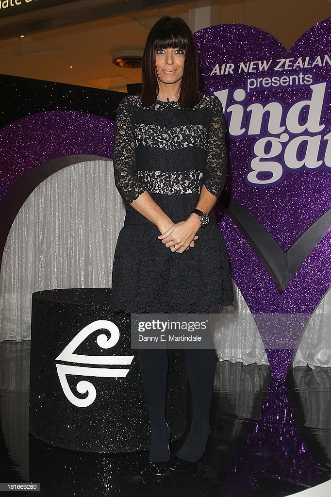 <a gi-track='captionPersonalityLinkClicked' href=/galleries/search?phrase=Claudia+Winkleman&family=editorial&specificpeople=224036 ng-click='$event.stopPropagation()'>Claudia Winkleman</a> hosts the UK's first ever live dating show on Valentine's Day with the prize being a trip in Air New Zealand's economy skycouch to LA at Heathrow Airport on February 14, 2013 in London, England.