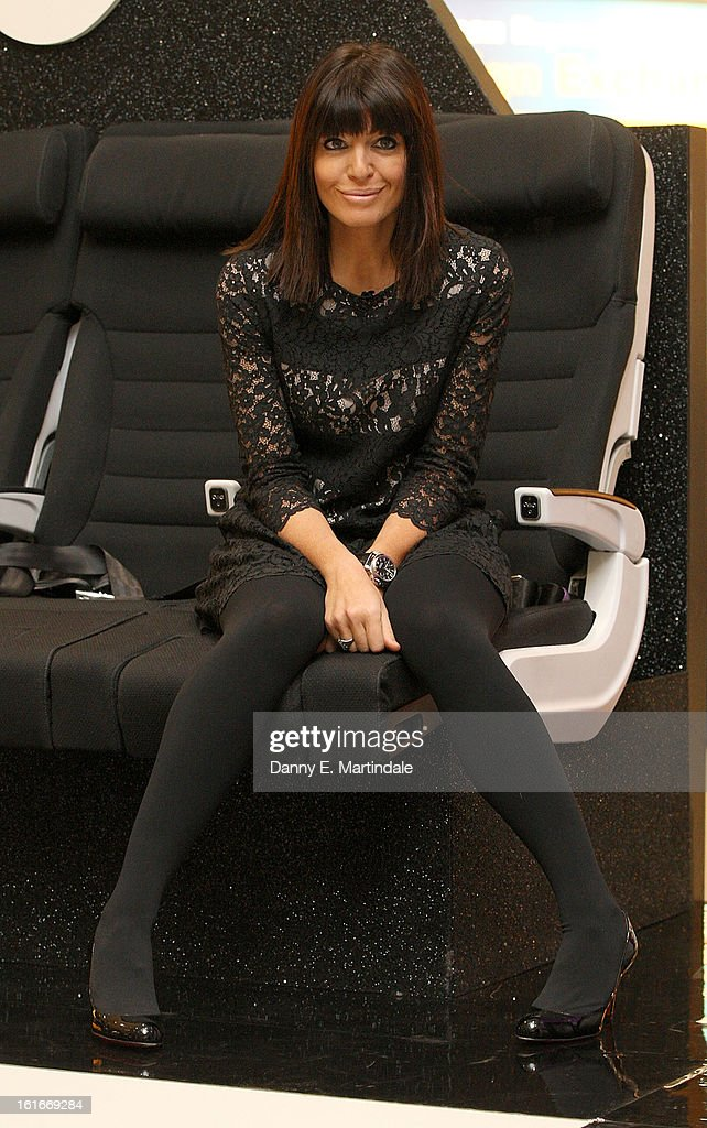 Claudia Winkleman hosts the UK's first ever live dating show on Valentine's Day with the prize being a trip in Air New Zealand's economy skycouch to LA at Heathrow Airport on February 14, 2013 in London, England.