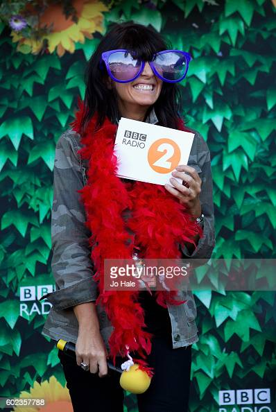 Claudia Winkleman on stage with Fran Healy and Travis at BBC R2 Live at Hyde Park on September 11 2016 in London England