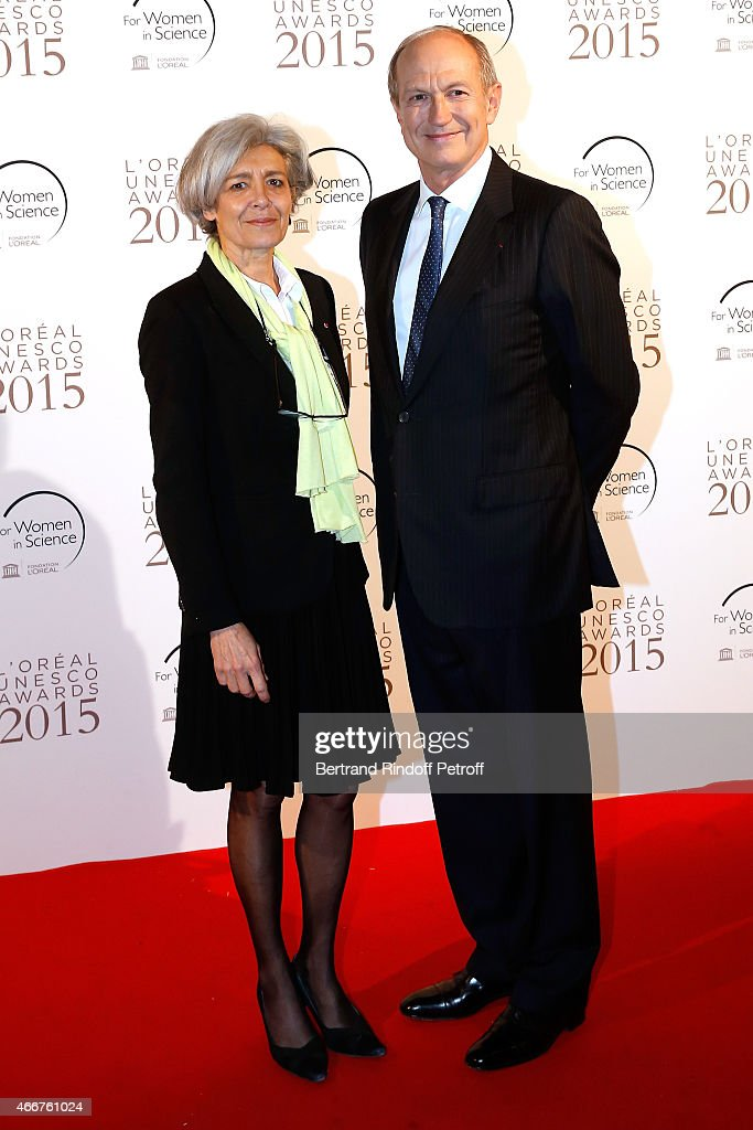 <a gi-track='captionPersonalityLinkClicked' href=/galleries/search?phrase=Claudie+Haignere&family=editorial&specificpeople=774320 ng-click='$event.stopPropagation()'>Claudie Haignere</a> and Chairman & Chief Executive Officer of L'Oreal and Chairman of the L'Oreal Foundation <a gi-track='captionPersonalityLinkClicked' href=/galleries/search?phrase=Jean-Paul+Agon&family=editorial&specificpeople=675160 ng-click='$event.stopPropagation()'>Jean-Paul Agon</a> attend the 'L'Oreal-UNESCO Awards 2015 for Women in Science at La Sorbonne on March 18, 2015 in Paris, France.