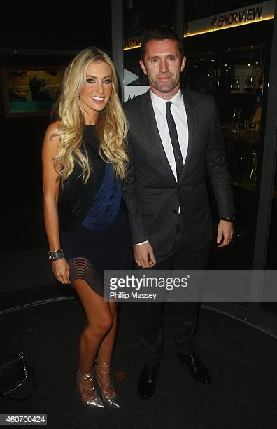 Claudine Keane and Robbie Keane attend The Late Late Show on December 19 2014 in Dublin Ireland