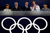 Claudio Bach Thomas Bach President of the IOC Russian President Vladimir Putin and Russian Bobsleigh pilot Alexander Zubkov attend the 2014 Sochi...