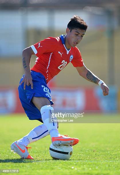 Claudio Baeza of Chile in action during the Toulon Tournament Group A match between Portugal and Chile at the Stade Perruc on May 23 2014 in Hyeres...