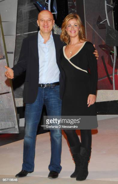Claudio Bisio and Vanessa Incontrada attend 'Zelig 2010' Photocall held at Arcimboldi Theatre on January 12 2010 in Milan Italy