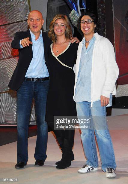 Claudio Bisio Vanessa Incontrada and Paolo Iannacci attend 'Zelig 2010' Photocall held at Arcimboldi Theatre on January 12 2010 in Milan Italy