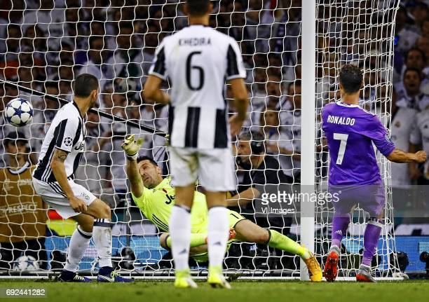 Claudio Bonucci of Juventus Gianluigi Buffon of Juventus Cristiano Ronaldo of Real Madrid scoring 13during the UEFA Champions League final match...