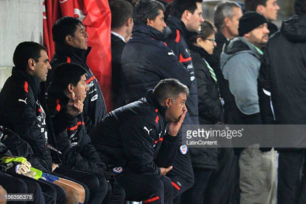 Claudio Borghi head coach of Chile looks on during the FIFA Friendly match between Chile and Serbia at Arena Saint Gallen stadium on November 14 2012...