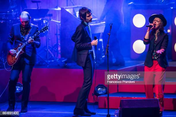 Claudio Brasini Francesco Bianconi and Rachele Bastreghi of Baustelle perform at Teatro Degli Arcimboldi on April 4 2017 in Milan Italy