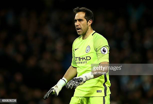 Claudio Bravo goalkeeper of Manchester City looks on during the Premier League match between Manchester City and Burnley at Etihad Stadium on January...