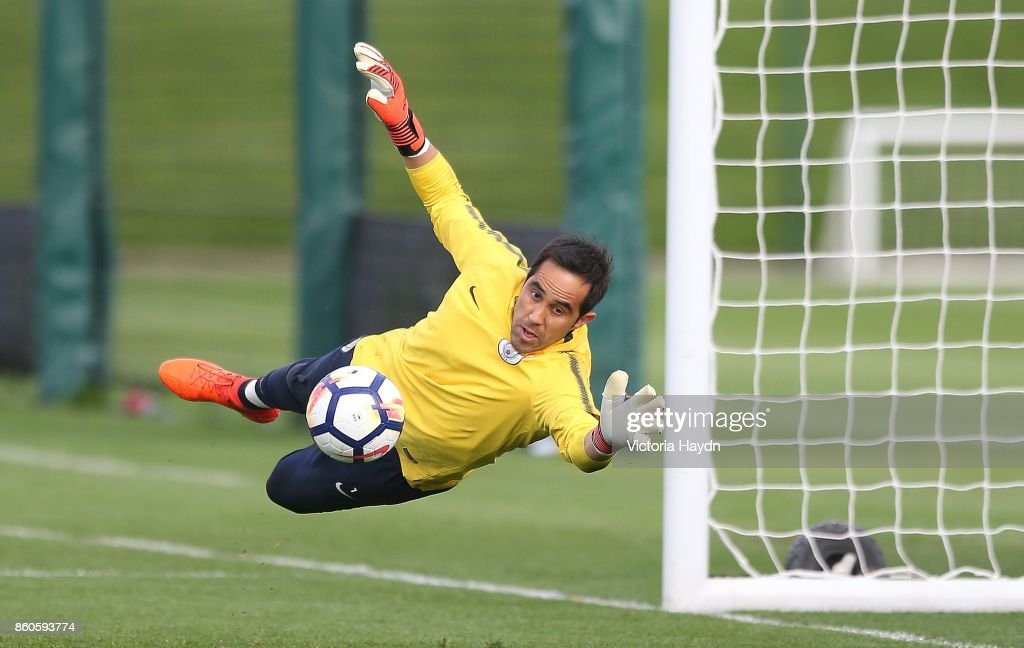 Claudio Bravo in action during training at Manchester City Football Academy on October 12, 2017 in Manchester, England.