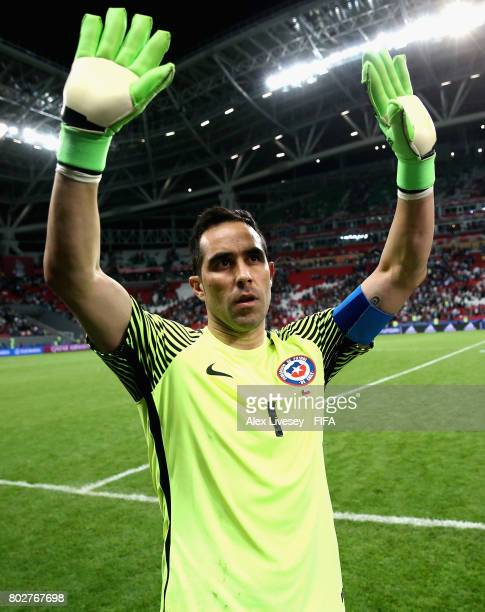 Claudio Bravo of Chile celebrates after the FIFA Confederations Cup Russia 2017 SemiFinal between Portugal and Chile at Kazan Arena on June 28 2017...