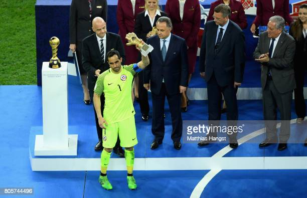 Claudio Bravo of Chile celebrates winning the golden glove during the FIFA Confederations Cup Russia 2017 Final between Chile and Germany at Saint...