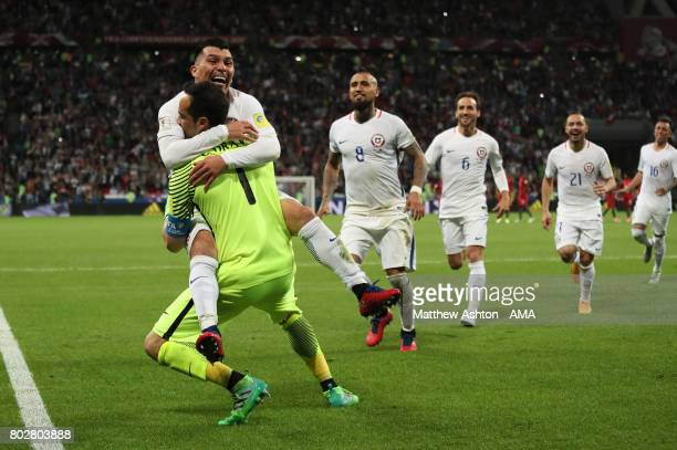 Claudio Bravo of Chile celebrates with Gary Medel and his teammates after they won a penalty shootout during the FIFA Confederations Cup Russia 2017...