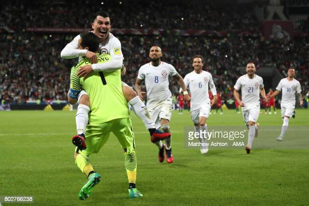 Claudio Bravo of Chile celebrates with his teammates after they won a penalty shootout during the FIFA Confederations Cup Russia 2017 SemiFinal match...