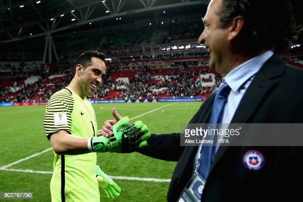 Claudio Bravo of Chile celebrates with Juan Antonio Pizzi of Chile after the FIFA Confederations Cup Russia 2017 SemiFinal between Portugal and Chile...