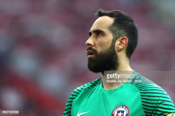 Claudio Bravo of Chile looks on during the FIFA Confederations Cup Russia 2017 Group B match between Chile and Australia at Spartak Stadium on June...