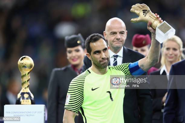 Claudio Bravo of Chile poses with the adidas Golden Glove award after the FIFA Confederations Cup Russia 2017 final between Chile and Germany at...