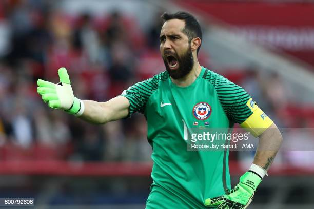 Claudio Bravo of Chile reacts during the FIFA Confederations Cup Russia 2017 Group B match between Chile and Australia at Spartak Stadium on June 25...