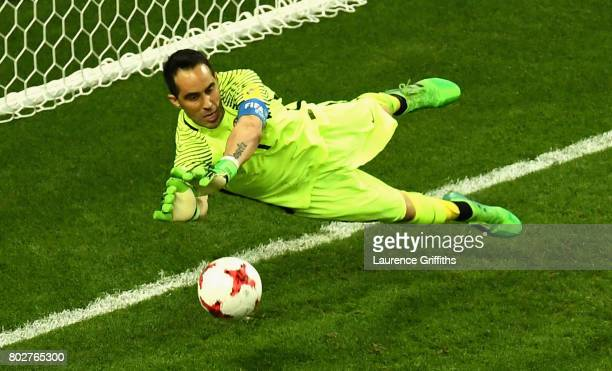 Claudio Bravo of Chile saves Portugal second penatly during the penalty shoot out during the FIFA Confederations Cup Russia 2017 SemiFinal between...
