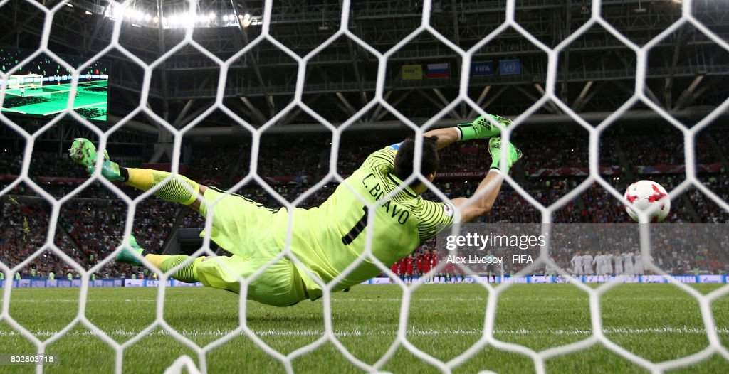 Claudio Bravo of Chile saves Ricardo Quaresma of Portugal penalty during the penalty shoot out during the FIFA Confederations Cup Russia 2017 Semi-Final between Portugal and Chile at Kazan Arena on June 28, 2017 in Kazan, Russia.