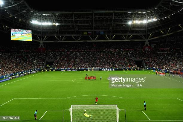 Claudio Bravo of Chile saves the Portugal's third penalty by Nani to win throuth the penalty shootout in the FIFA Confederations Cup Russia 2017...