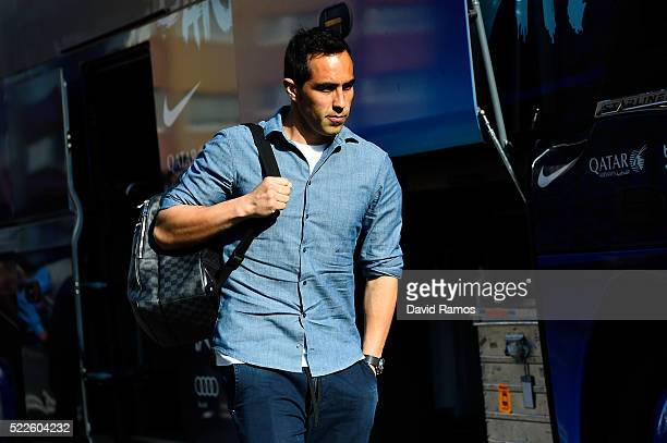 Claudio Bravo of FC Barcelona arrives at Riazor stadium ahead of the La Liga match between RC Deportivo La Coruna and FC Barcelona at Riazor Stadium...