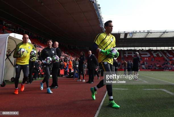 Claudio Bravo of Manchester City and Willy Caballero of Manchester City come out to warm up prior to the Premier League match between Southampton and...
