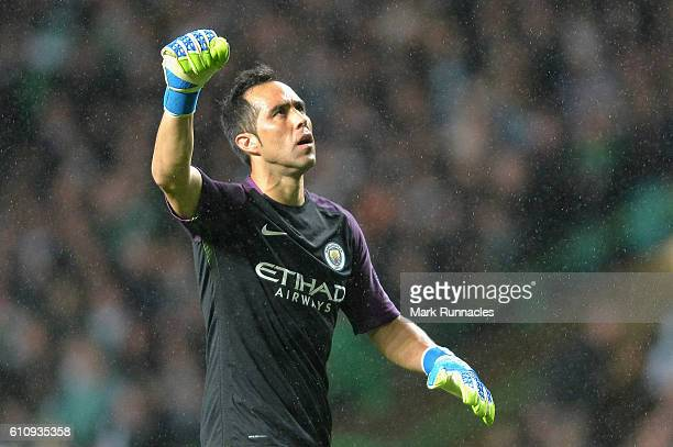 Claudio Bravo of Manchester City celebrates after Fernandinho scored their first goal during the UEFA Champions League group C match between Celtic...